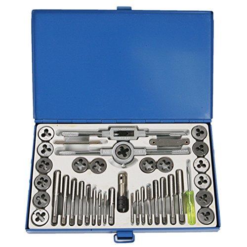 CSLU 39PCS Hardened Metric Tap and Die Bit Set Screw Thread Taper Drill Tool Kit
