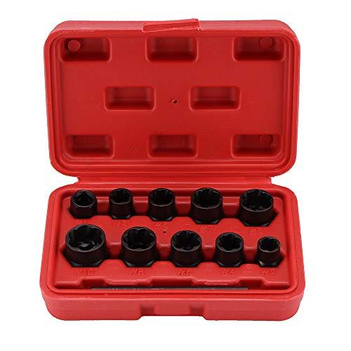 Konesky 11Pcs Damaged Boltnut Remover Set 9-19Mm Locking Wheel Bolt Nut Stud Extractor Twist Socket Set Threading Hand Tools Kit With Box