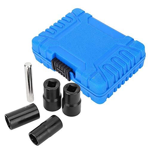 Suuonee Twsist Socket Set 5Pcs Twist Socket Set Locking Wheel Nut Bolt Stud Extractor Removers with 17mm 19mm 21mm 22mm Socket