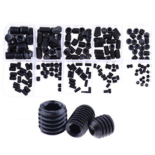 Hilitchi 200pcs M34568 Allen Head Socket Hex Grub Screw Set Assortment Kit with Plastic Box 129 Class Black Alloy Steel