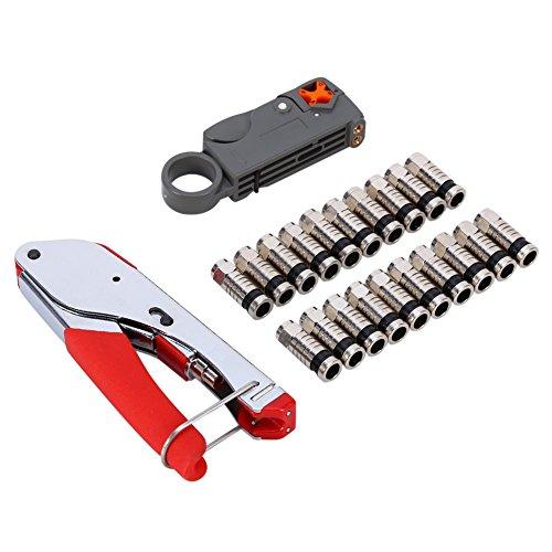 Yosoo F-Type Compression Tool BNC RCA RG6 RG59 Coaxial Connectors Hand Crimping Crimper Rotary Coaxial Cable Cutter Coax