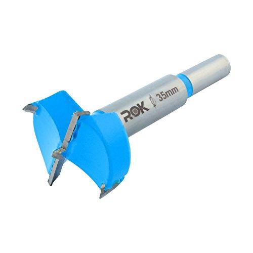 Rok Hardware 35mm Hinge Boring Forstner Drill Bit Blue ROKBB35BLUE