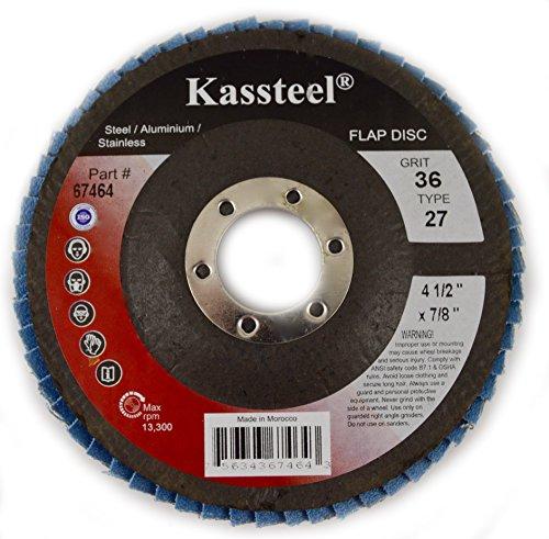 Kassteel Abrasives 67464 Type 27 Flap Discs with 4-12 x 78 Center Hole High Density Blue Zirconia Assorted 36 Grit 1 Disc