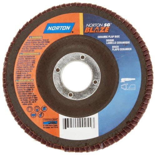 Norton Blaze R980P Abrasive Flap Disc Type 27 Threaded Hole Plastic Backing Ceramic Aluminum Oxide 4-12 Dia 80 Grit Pack of 1