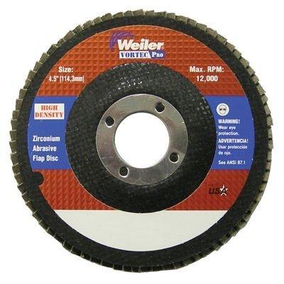 Weiler 804-31389 Vortec Pro Zirconia Alumina Type 27 Flap Disc 80 Grit 78 12000 rpm 4 12 Pack of 10