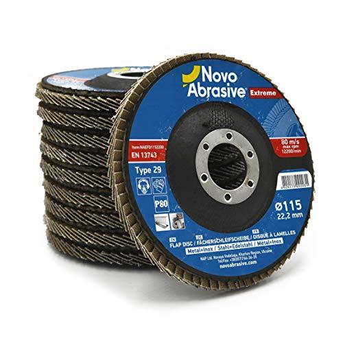 10 PCS Premiun Zirconia Flap Grinding Disc 80 Grit 45 x 78 Inch Sanding Flapper Wheel Type 29 by NOVOABRASIVE