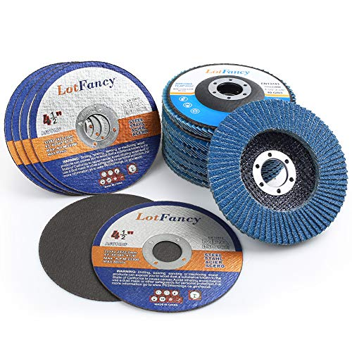 14PCS 45 Inch Flap Discs And Cutting Wheels Set by LotFancy - 40 60 80 120 Grit Assorted Zirconia Alumina Sanding Grinding Wheels Type 27 Metal Cut off Wheels for Angle Grinders