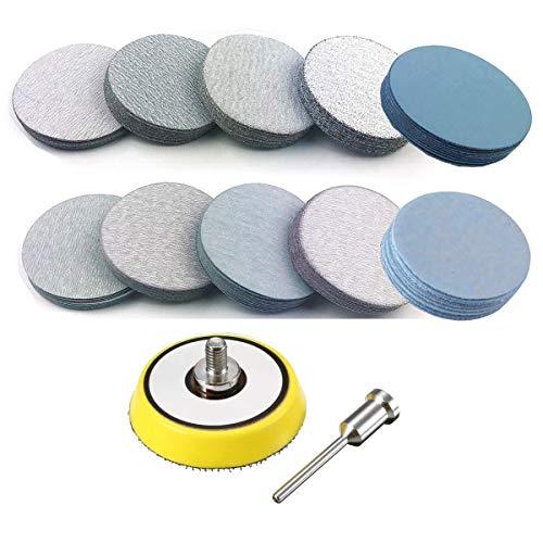 200PCS 3 inch Sanding Disc Hook and Loop VÉZAAR WetDry Sandpaper Discs 80 120 180 240 600 800 1000 3000 5000 7000 Grit Woodturning Headlight Restoration Polishing Kit with 14 Dia Arbor