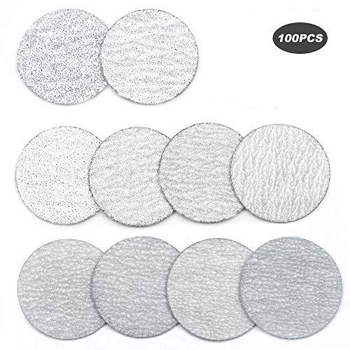 YUFUTOL 118 Inch 30mm Sanding Discs Sandpaper Pads Plate 60 80 100 120 180 240 320 400 600 1000 Grits Sandpapers for Hand Held Bowl Sander Pack of 100