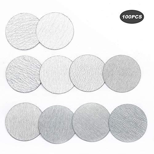 YUFUTOL 2 Inch 50mm Sanding Discs Sandpaper Pads Plate 60 80 100 120 180 240 320 400 600 1000 Grits Sandpapers for Hand Held Bowl Sander Pack of 100
