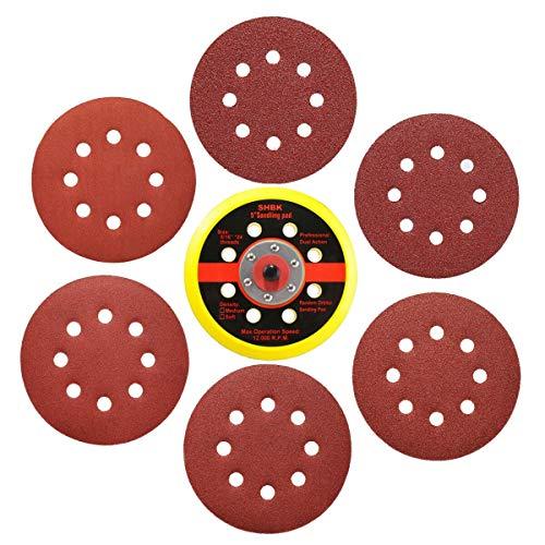 61Pcs Sanding Discs Set Drillpro 60pcs 5 Inch 8 Holes Hook and Loop 6080120180240320 Grit Sandpaper  1 Piece PU Backing Pad for Random Orbital Sander