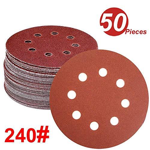 WINGONEER 50PCS Sanding Discs Pads 5-Inch 8-Hole 240-Grit Hook and Loop Aluminium Oxide Sandpaper for Random Orbital Sander