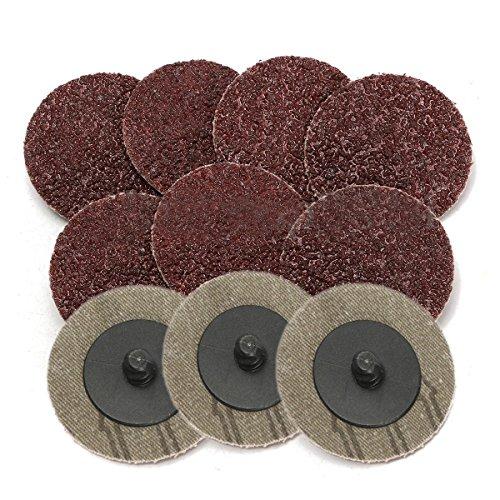 Vaorwne 10Pcs 36 Grit 2 Roll Lock Sanding Discs Type R Roloc Sander brasive For Rotary