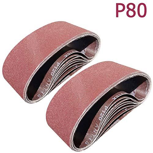 SACKORANGE 15 PCS 4 x 24 Inch Sanding Belts  80 Grit Aluminum Oxide Sanding Belt  Premium Sandpaper for Portable Belt Sander 80 Grit