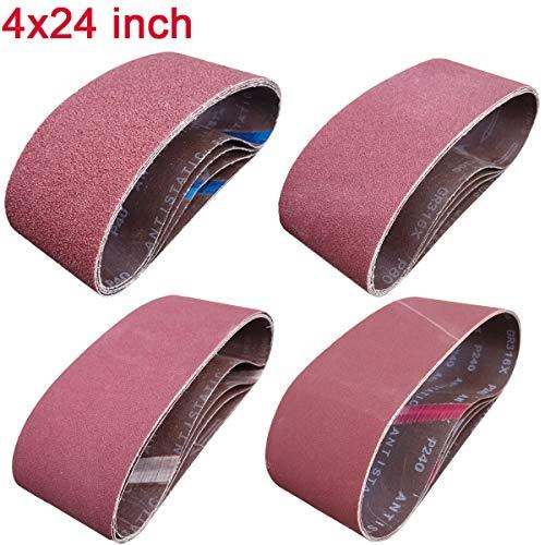 Sackorange 16 PCS 4 inch x 24 inch Abrasive Sanding Belts - 4 Each of 40 80 120 240 Grit Aluminum Oxide Sanding Belts For Belt sander 4 x 24 inch