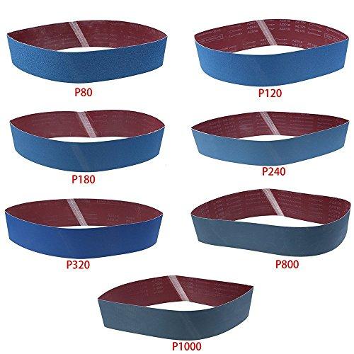 Sanding Belt LANDGOO Sandpaper 4x 36 801201802403208001000 Grit Metal Grinding Aluminium Oxide Sand Blue 7 Pack