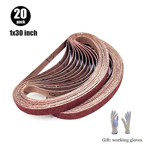 Sanding Belts 1x30 Aluminum Oxide Sandpaper Belt for Sander 1 x 30 2 Each of 80 120 150 180 240 320 400 600 800 1000 Grits20 Pack1x30 Inch