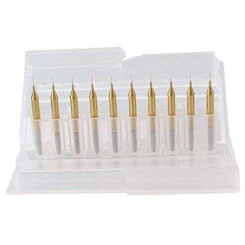 BQLZR 02mm Blade 18 Shank Titanium Coated Carbide Micro Drill Bits PCB CNC End Mill Tool Pack of 10