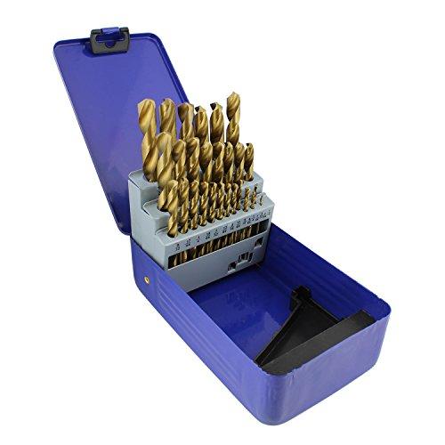 ABN Coated Titanium Drill Bit Set 29pc Drill Bits for Metal Plastic Wood Drill Bits - High Speed HSS Drill Bit Set