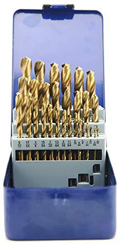 NORTOOLS Fractional Jobber HSS Twist Drill Bits Set 29pcs HSS Titanium Coating