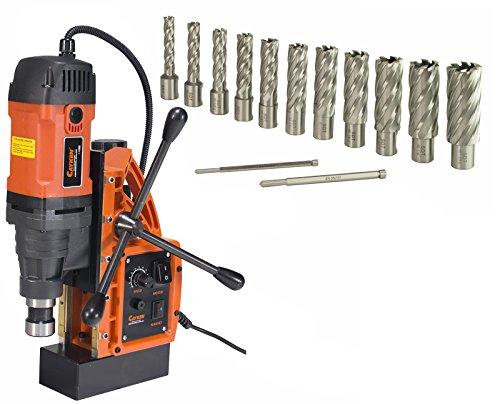 Cayken SCY-42HD 165in Magnetic Drill Press with 1700W Variable Speed Motor Weldon Shank 13 Piece 2in Cut Depth Annular Cutter Kit