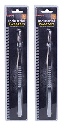 Set of 2 Stainless Steel Industrial Tweezers 10 Long