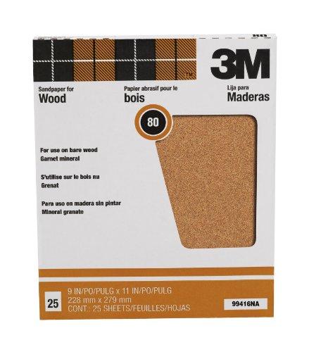 3M Pro-Pak Garnet Sanding Sheets 80-Grit 9-Inch by 11-Inch