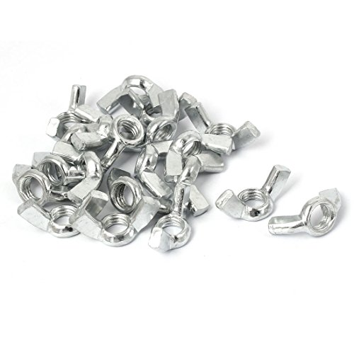 uxcell M10 Metal Coarse Thread Fastener Wing Nut Silver Tone 20pcs