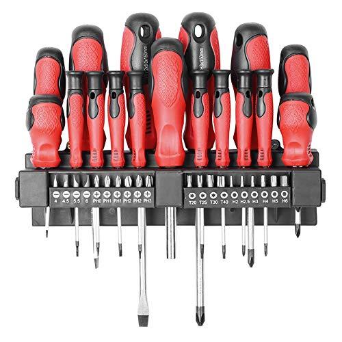 Cocoarm 37 Piece Screwdriver Set Multi-Functional Chrome-Vanadium Steel Magnetic Tips Screwdrivers and Bits Screws Repair Tools Kit Including Flatheads Phillips Torx Screwdrivers