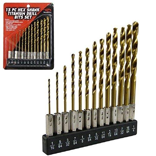 Hex Shank Drill Bit Set 13pc Wholder HSS Titanium Coated Quick Change Load New
