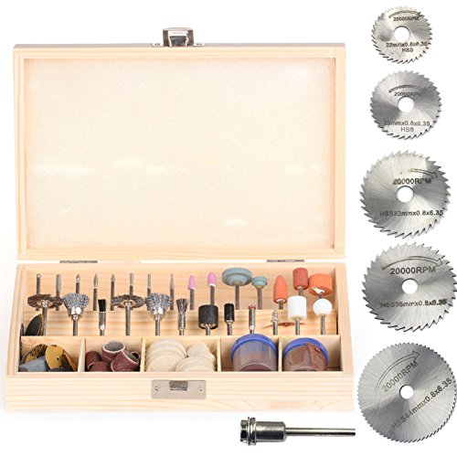SPTA 100pc Rotary Tool Accessory Bit Bits Set 5Pcs HSS Saw Blde 18inch Shank For Dremel Jeweler Gunsmith with Case for DIY Woodworking Carving Engraving Drilling