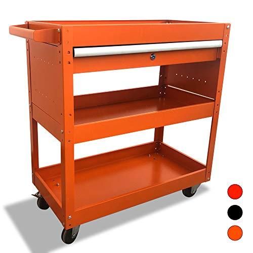 Rolling Tool Cart 3 Trays Service Tool Cart with Lockable Drawer Multifunctional Tool Cart Utility Cart Mobile Storage Cabinet Tool Storage Organizer orange