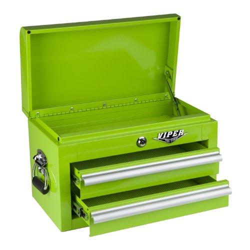 Viper Tool Storage LB218MC 18-Inch 2-Drawer 18G Steel Mini Storage Chest w Lid Compartment Lime Green