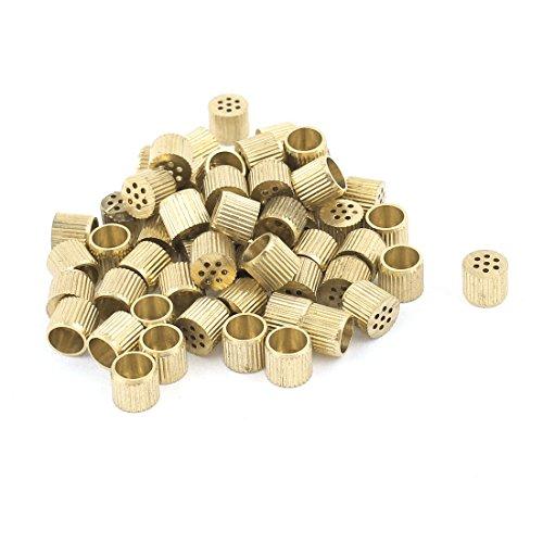 60 Pcs Hardware Mould Parts Brass Hole Core Vent 6mm Dia Gold Tone
