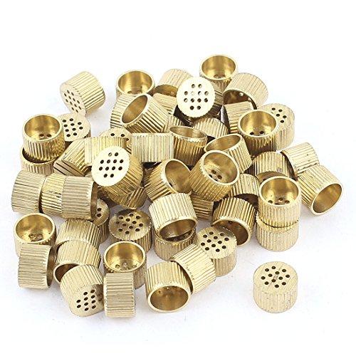 60 Pcs Hardware Mould Parts Brass Hole Core Vent 8mm Dia Gold Tone
