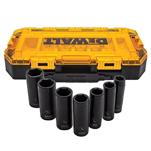 DEWALT Tough Box 7PC SAE 12 Deep Drive Impact Socket Set