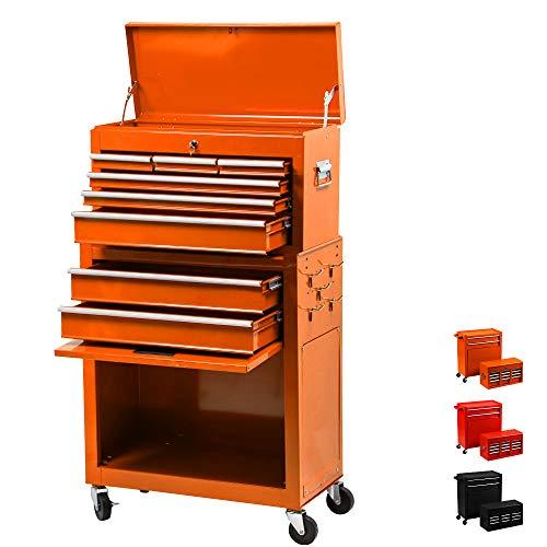 8 Drawer Rolling Tool ChestLarge Capacity Tool Box With 4 WheelsDetachable Tool Storage CabinetKey DrawerSliding Metal Tool Organizer Orange