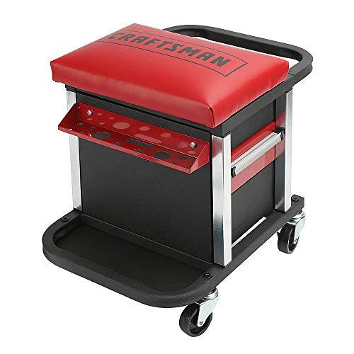DIY Creeper Seat Rolling Tool Box 2-Drawer Chest Storage Heavy Duty Mechanic Garage