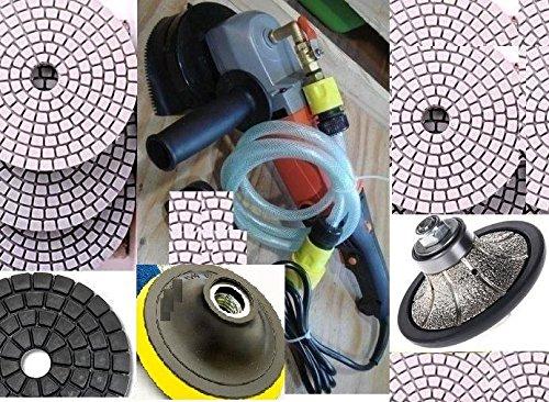 Wet Grinder Polisher 38-Inch Roundover  Half Bullnose Router Hand Porfiler Shaping and Diamond Polishing Pad DAMO Glaze Buff granite concrete travertine quartz counter top edge