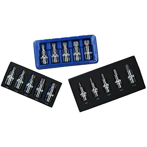 12 Drive Metric Hex Allen Male Torx Spline Triple Square Bit Sockets 15pc