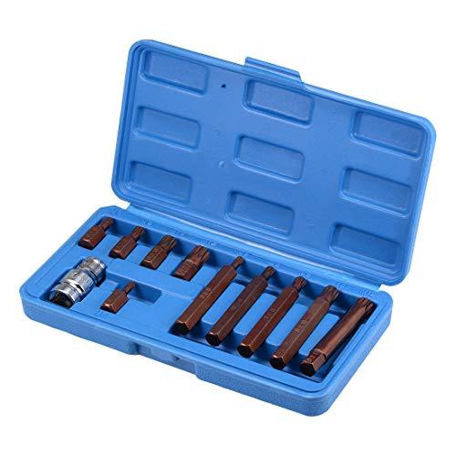 uxcell 12-Inch Drive Socket and Triple Square Bit Set M5 M6 M8 M10 M12 S2 Steel 11 Pcs