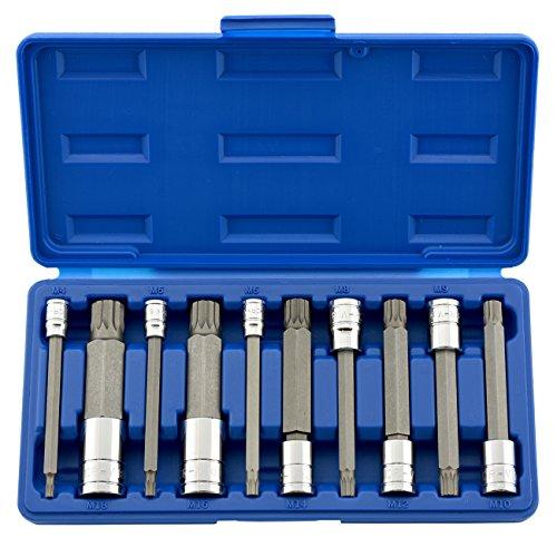 Neiko 10054A 4-Inch Extra Long XZN Triple Square Spline Bit Socket Set S2 Steel  10-Piece Set