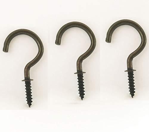 Antique Brass Ceiling Hooks Screw Cup Hook Bronze 20 Pack 1 Inch Screw-in Light Hooks