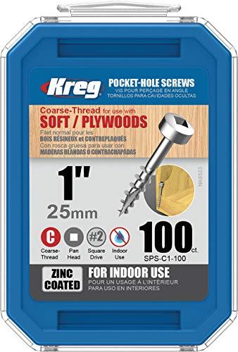 Kreg SPS-C1-100 Pocket Screws - 1-Inch 7 Coarse Pan-Head 100-Count