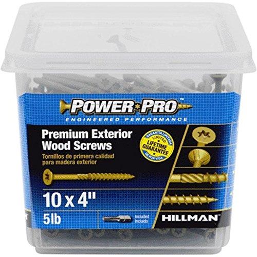 Hillman 48615 Power Pro Premium Exterior Wood Screw 10 X 4-Inch 285 Pack