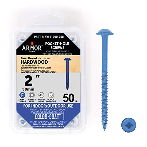 Armor Tool 2″ Fine-Thread Pocket Hole Screws- 50 Package