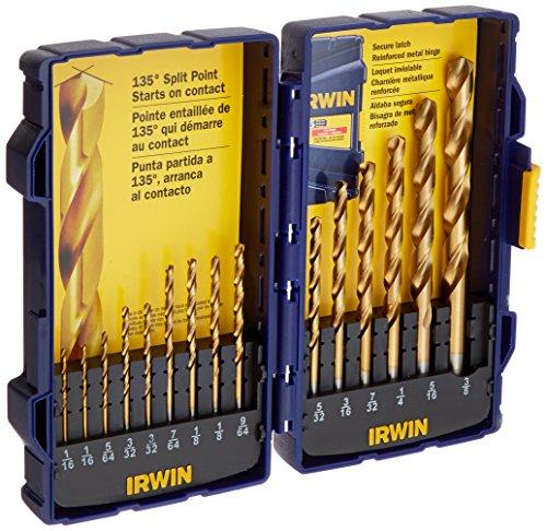 Irwin Tools 4935607 Titanium Coated High-Speed Steel Drill Bit Set Pro Case 15-