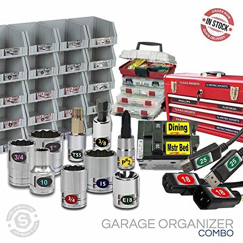 Steellabels - Garage Organizer Kit - Chrome Foil Socket Labels - Toolboxes - Storage bins - Circuit Breaker Assembly Tackleboxes ULTIMATE VALUE bundle for the Craftsmen