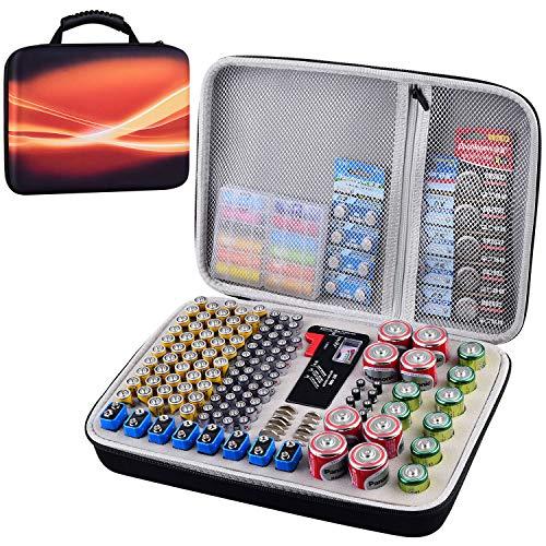 Battery Organizer Storage Box Case with Tester Checker BT-168 200 Batteries Holder Garage Organization Holds AA AAA C D 9V 3V 2A 3A 4A Lithium Cell LR44 CR2 CR1632 CR2032 Button Batteries