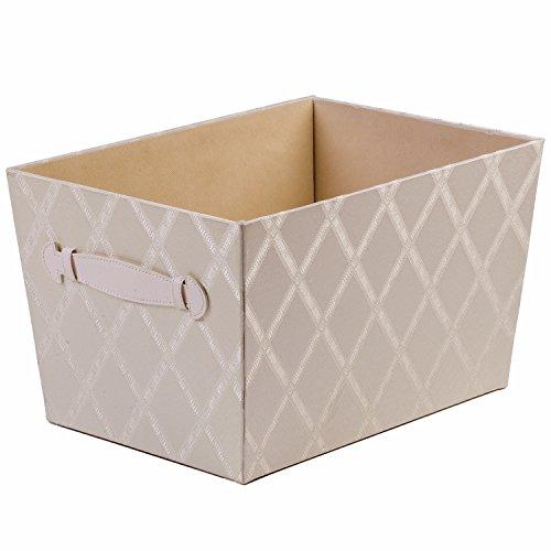 Creative Scents Fabric Storage Bin for Shelves 975 x 1375 x 8 Closet Organizer Storage Box Basket for Shelves with Faux Leather Handles Sturdy Cardboard Galliana